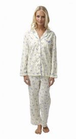 Ladies 100% Cotton Wincey Pyjamas Floral Blue on Cream 8 - 26